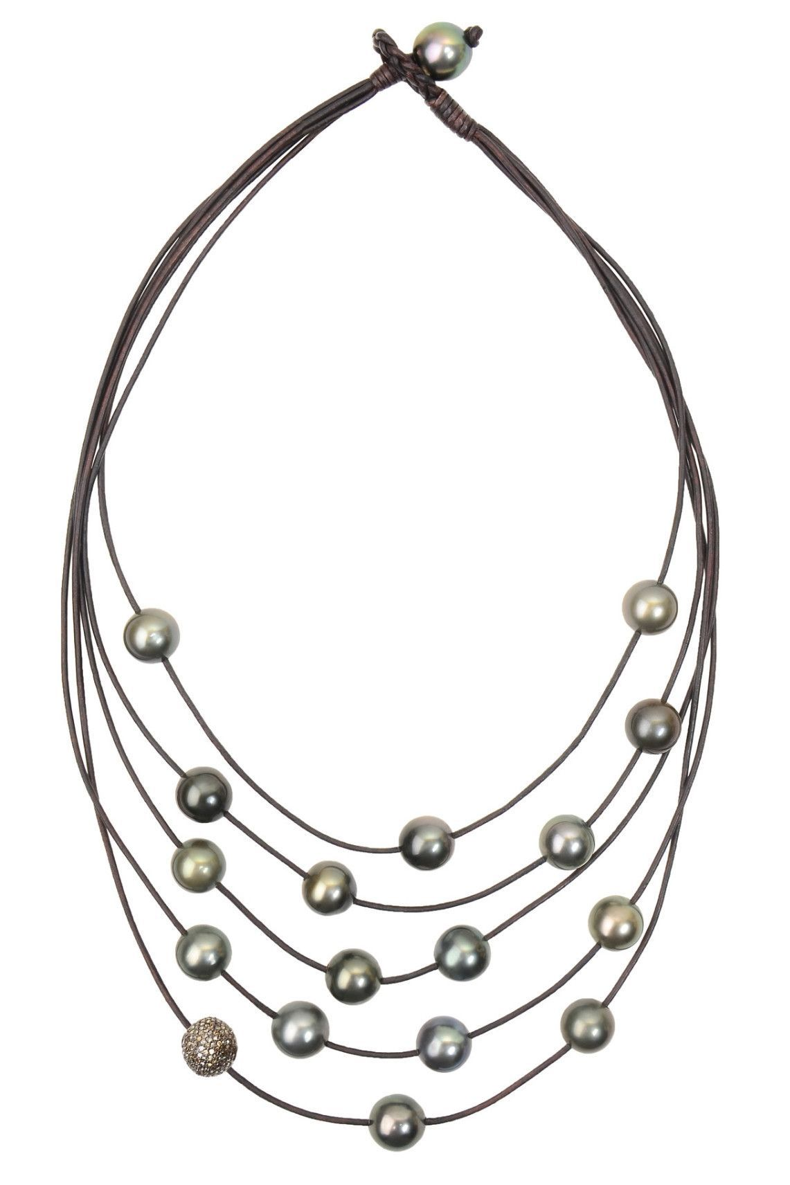 Constellation Necklace Pave And Tahitian Pearls In