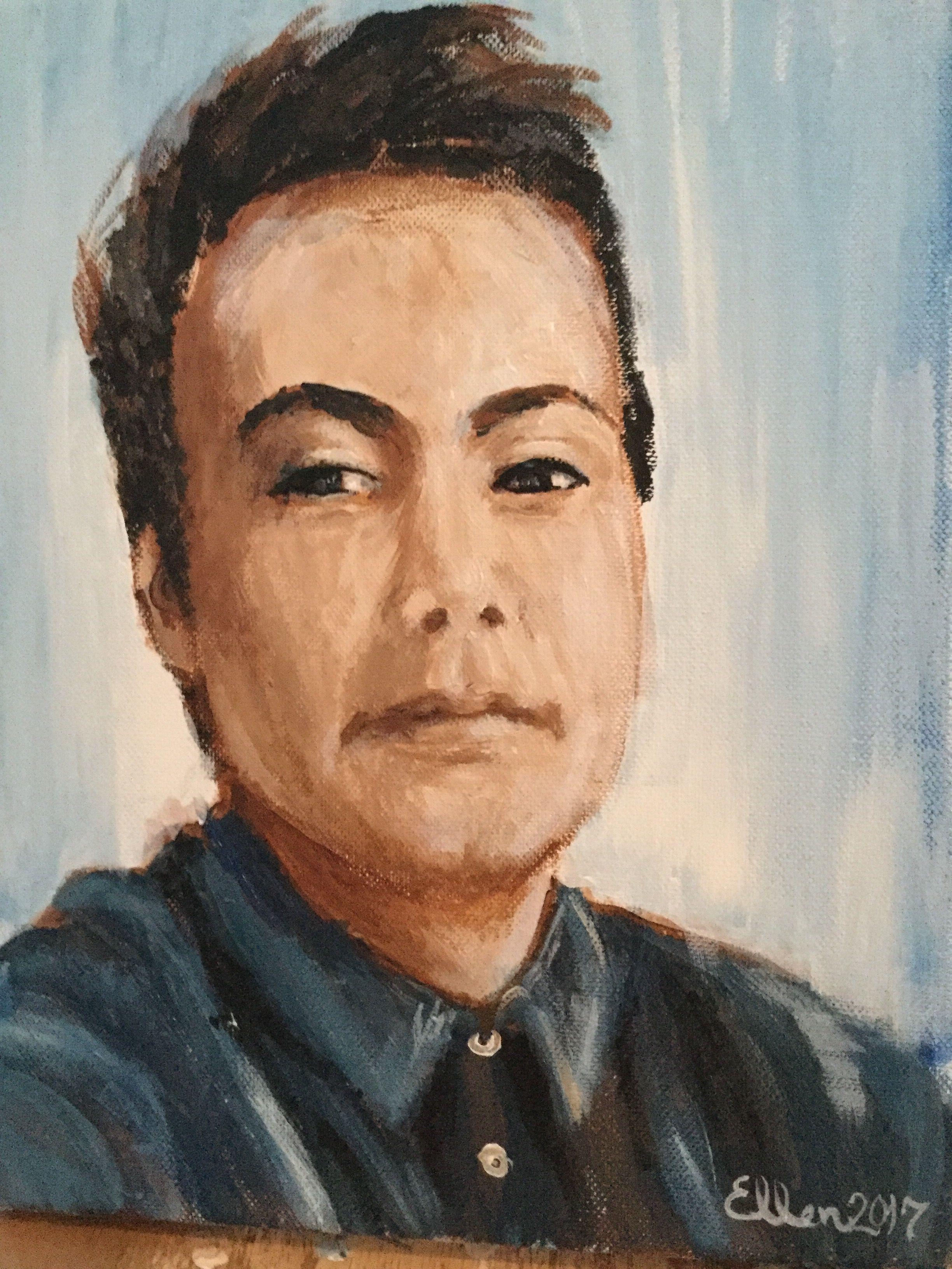 Portrait of a afghan man, in acrylpaint. By Ellen Barbakken