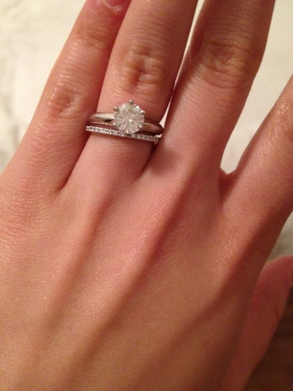 1 ct solitaire on 475 size finger skinny wedding bandthin - Solitaire Engagement Ring With Diamond Wedding Band