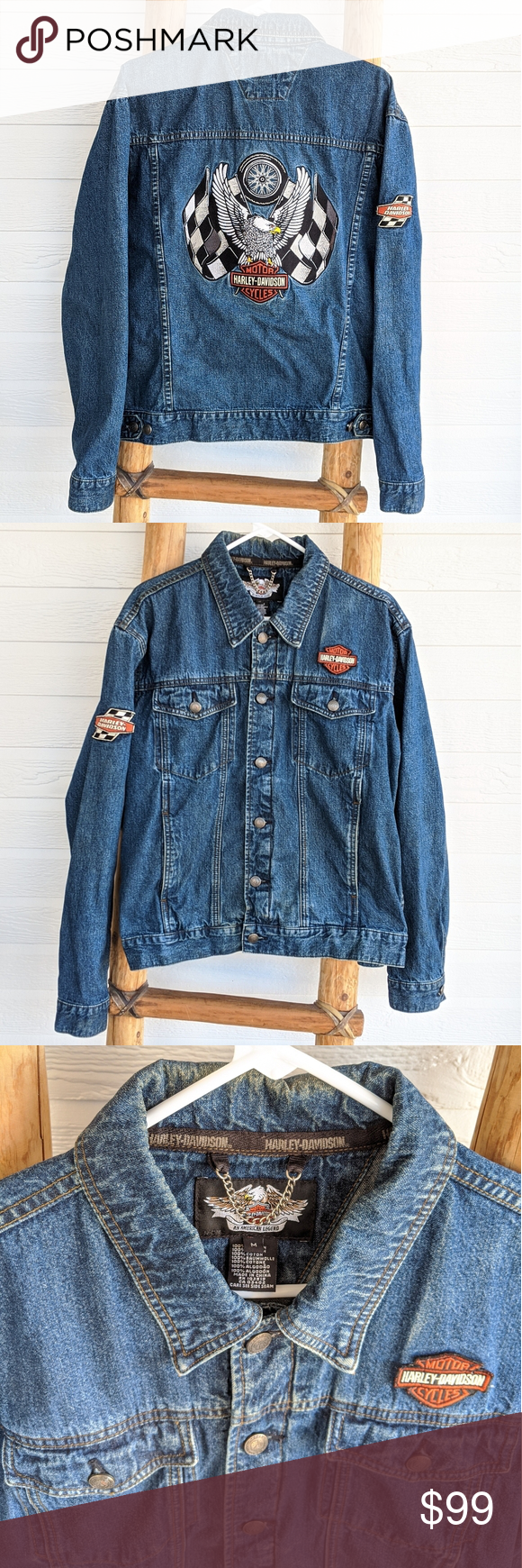 Harley Davidson Denim Jean Jacket Womens Size M Jean Jacket Women Jackets For Women Denim Jean Jacket [ 1740 x 580 Pixel ]