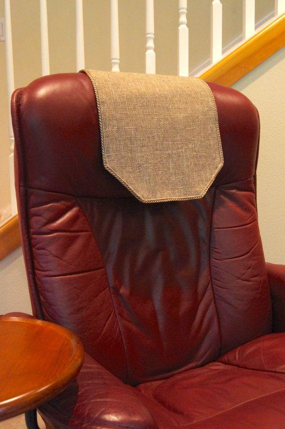 ReclinerChair Headrest Protector  Beige Woven Upholstery