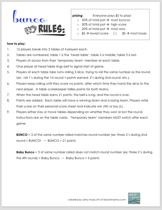 photograph about Bunco Rules Printable titled how in direction of engage in bunco with People Bunco How in direction of perform bunco