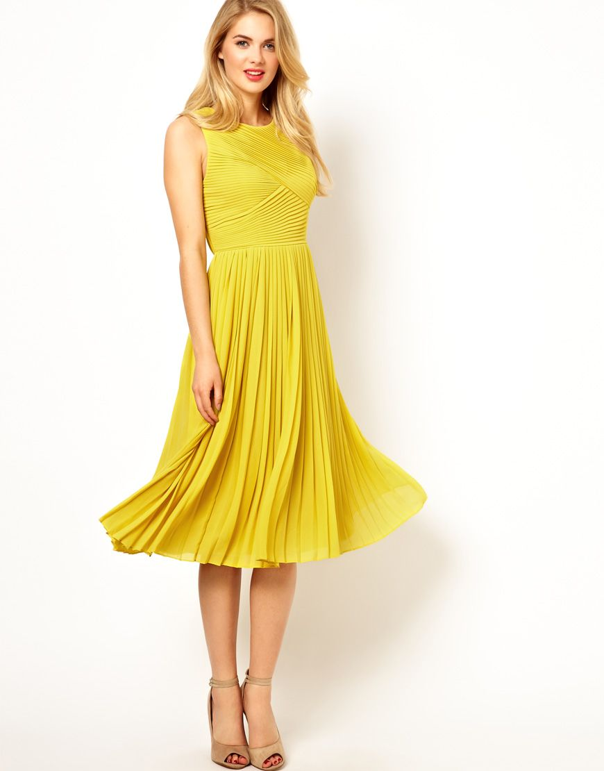 Ted Baker Pleated Midi Dress I Would Like It Just Not In The Yellow Color