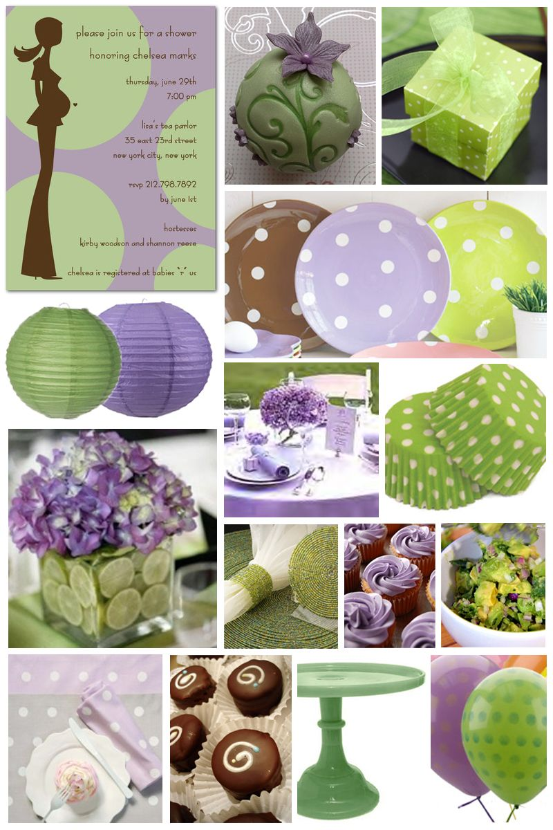Baby Shower Decor Green ~ Purple and green baby shower centerpieces wall decal