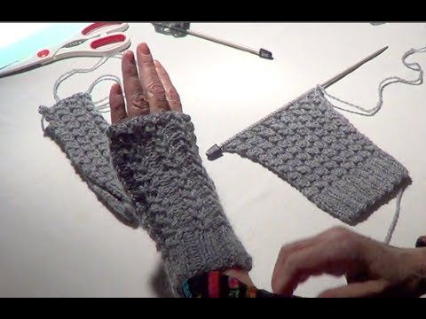 ▶ Fingerless Gloves - Eyelet Mock Cable Ribbing Stitch - YouTube