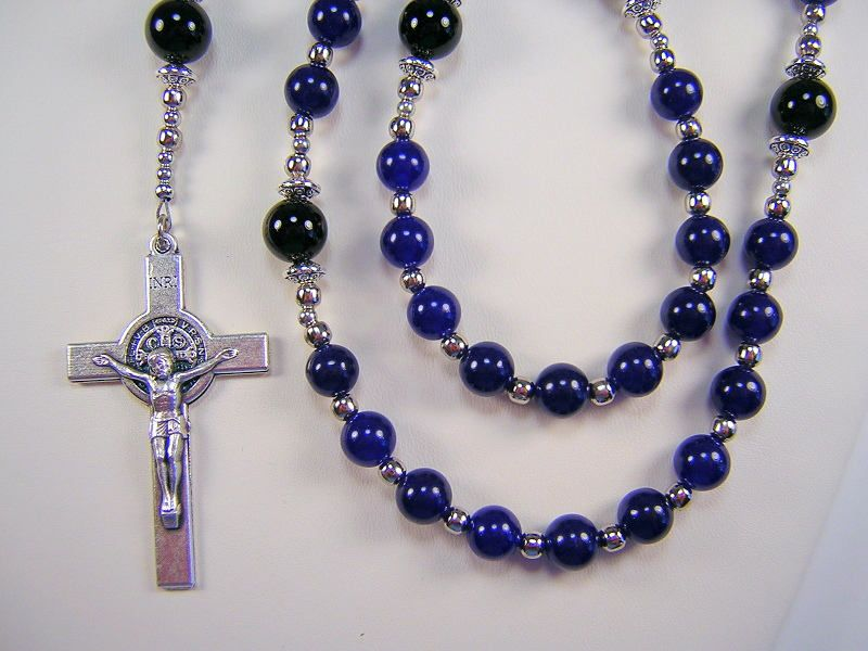 Mens Blue Rosary Jade St Jude Catholic Gemstone 23 inch Blue Jade and Black Onyx Beads Masculino Rosario Free shipping USA by TheGemBeadLink on Etsy