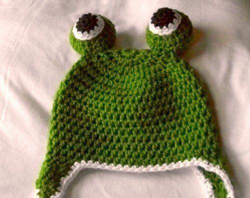 Green Froggie Beanie / Hat - Handmade Crochet Baby Hat - 12-24 Month Size - Child Hat - Photo Prop by Sweet Lullabiez, http://www.amazon.com/dp/B008IRLKME/ref=cm_sw_r_pi_dp_MY5xqb08T6A6P