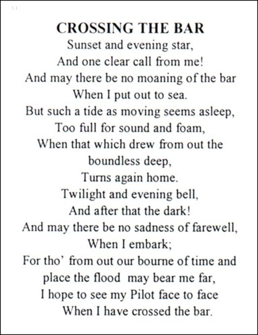 Crossing The Bar Alfred Lord Tennyson Poems Alfred Lord Tennyson Tennyson Poems