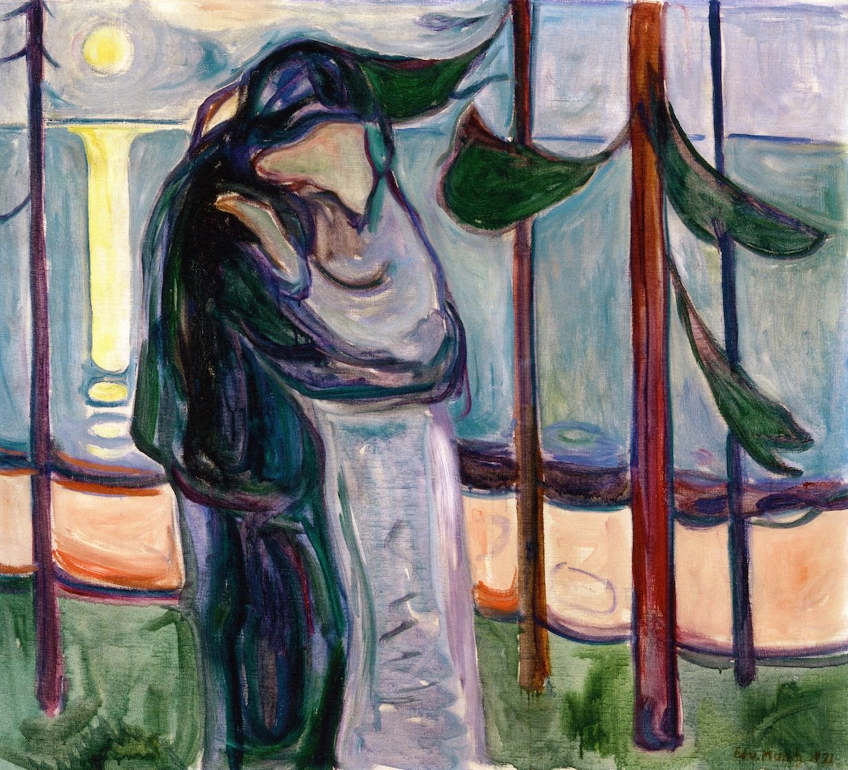 Watercolor art galleries in houston - Edvard Munch Kiss On The Beach 1921 Museum Of Fine Arts Houston