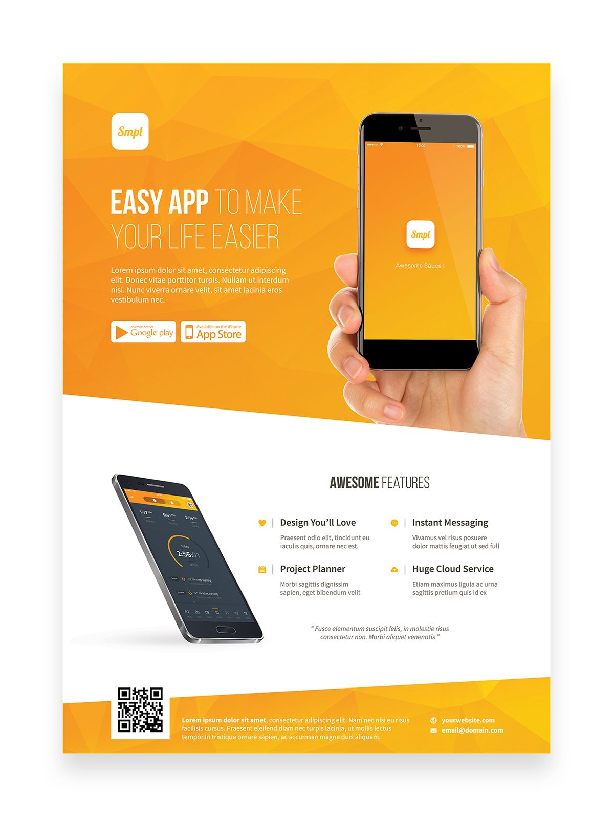 Mobile App Promotion Flyer Template On Behance App Promotion Promotional Design Brochure Design Layout