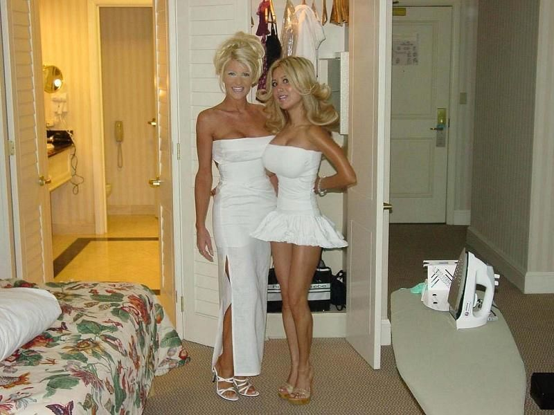 Blonde mom and daughter