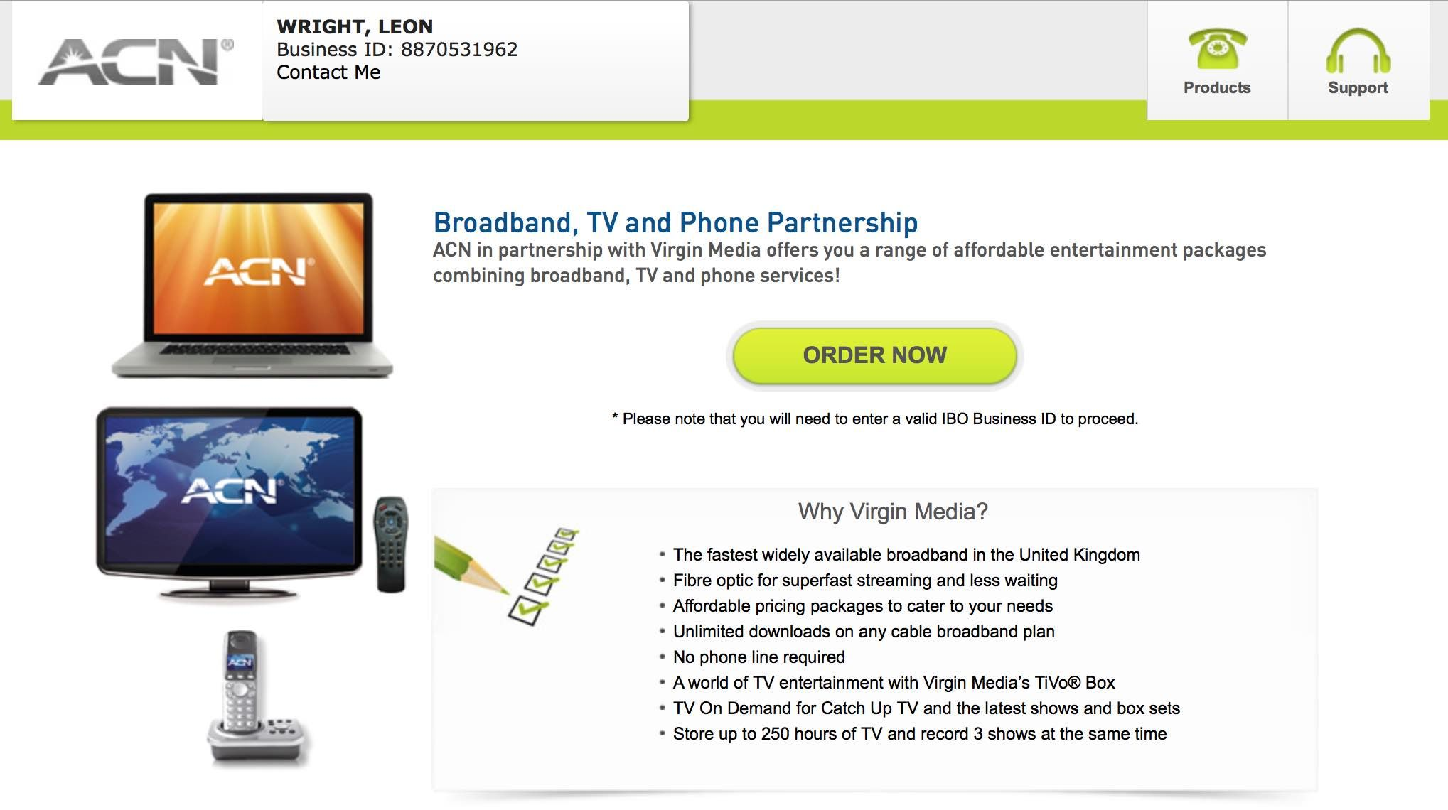 Broadband, TV and Phone Partnership ACN in partnership with