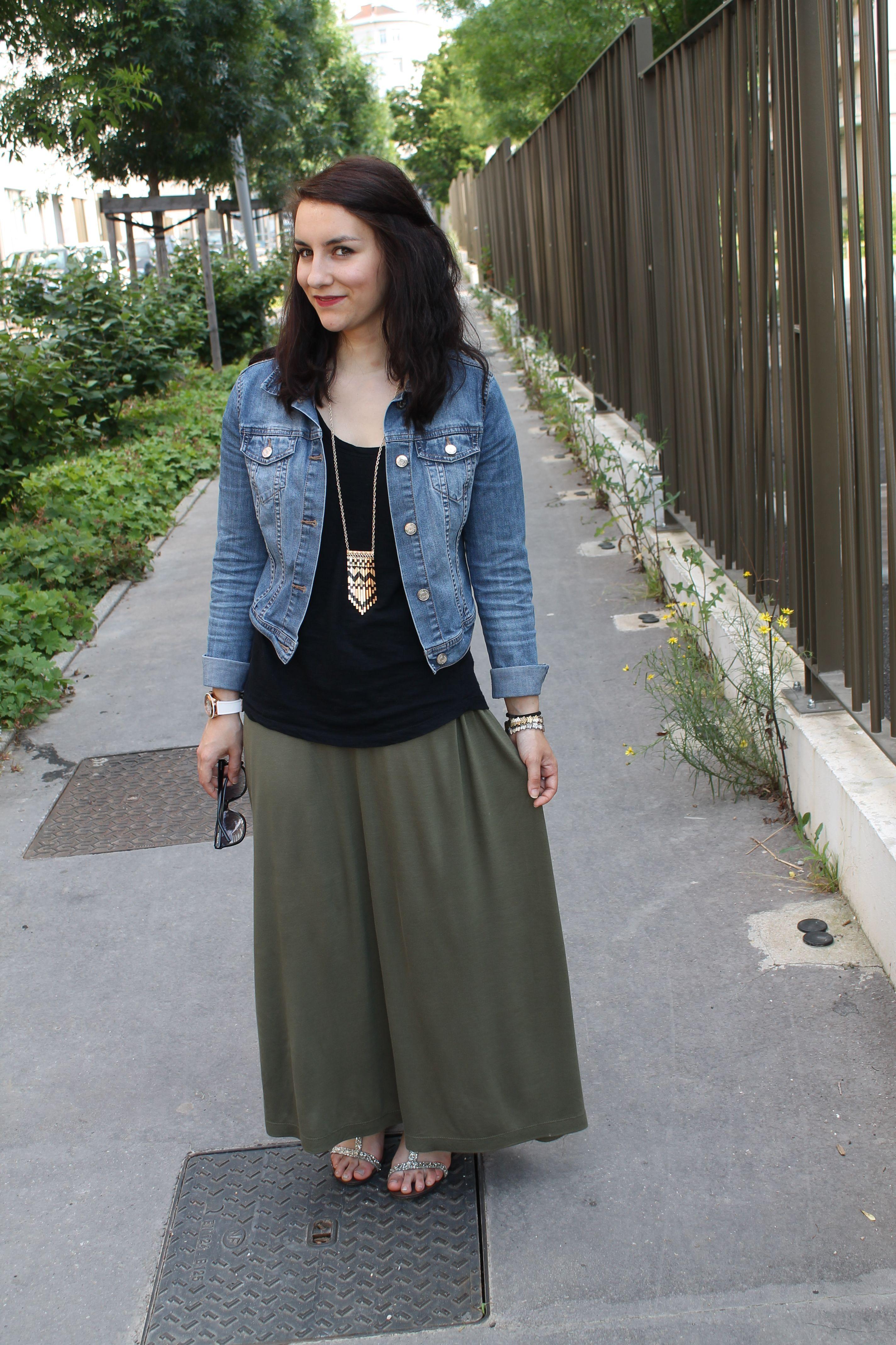 Long Skirt & Denim Jacket   Lovely Outfit   Pinterest   Denim ...