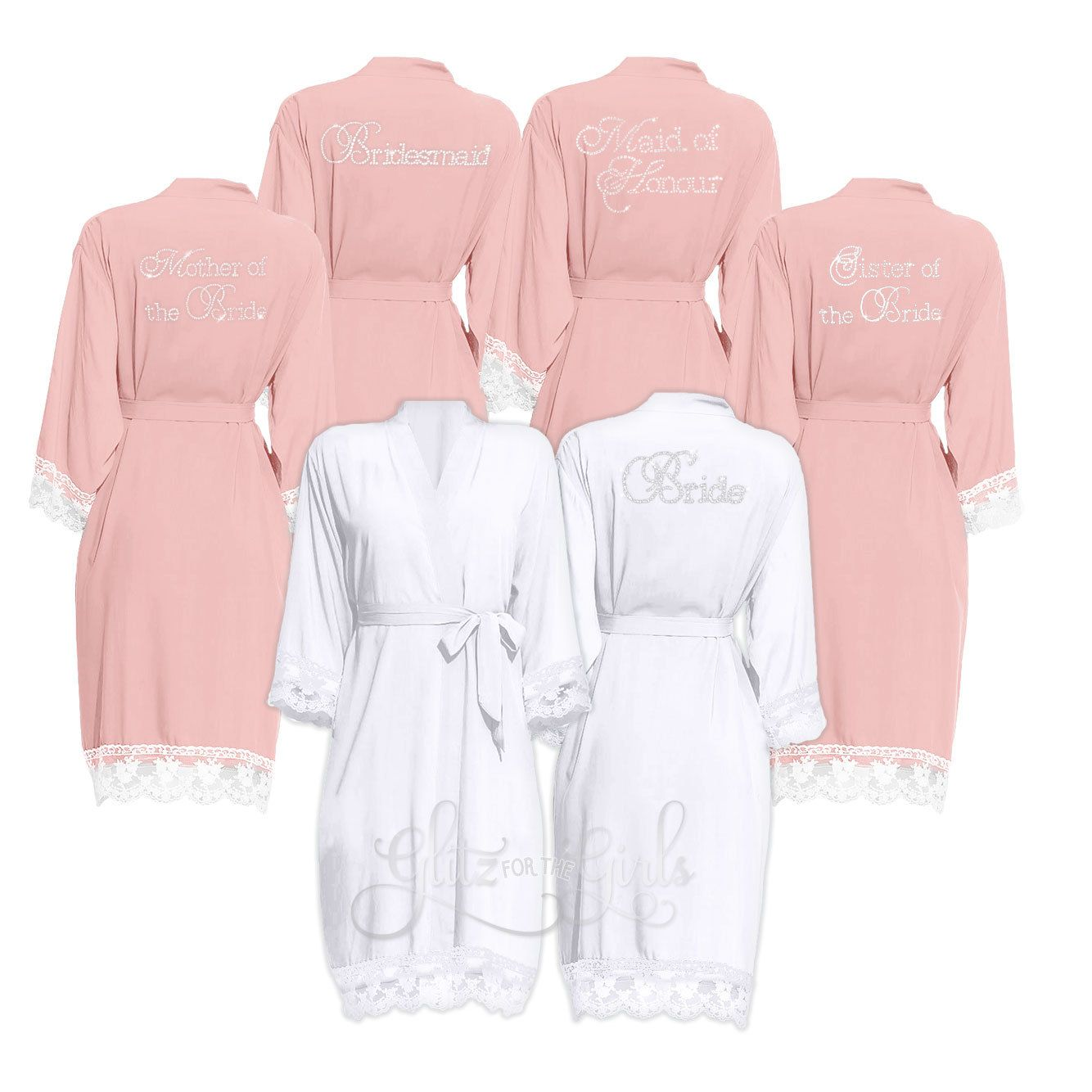 10 Discount Set Of 5 Lace Bridal Party Robes Brides Robe Wedding Robe Wedding Dressing Gown Bridesmaid Rob Bridal Party Robes Bridal Lace Bridesmaid Robes