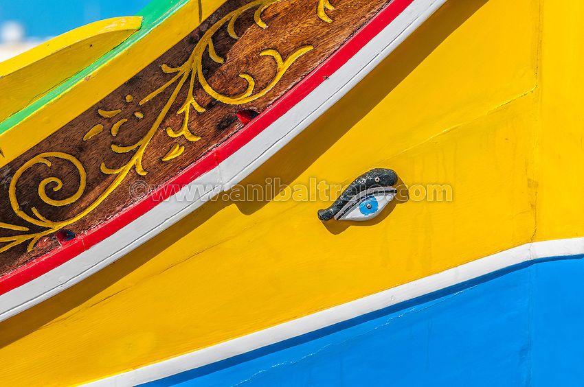 the eye of osiris | eye of horus or osiris in traditional luzzu boat at marsaxlokk harbor ...