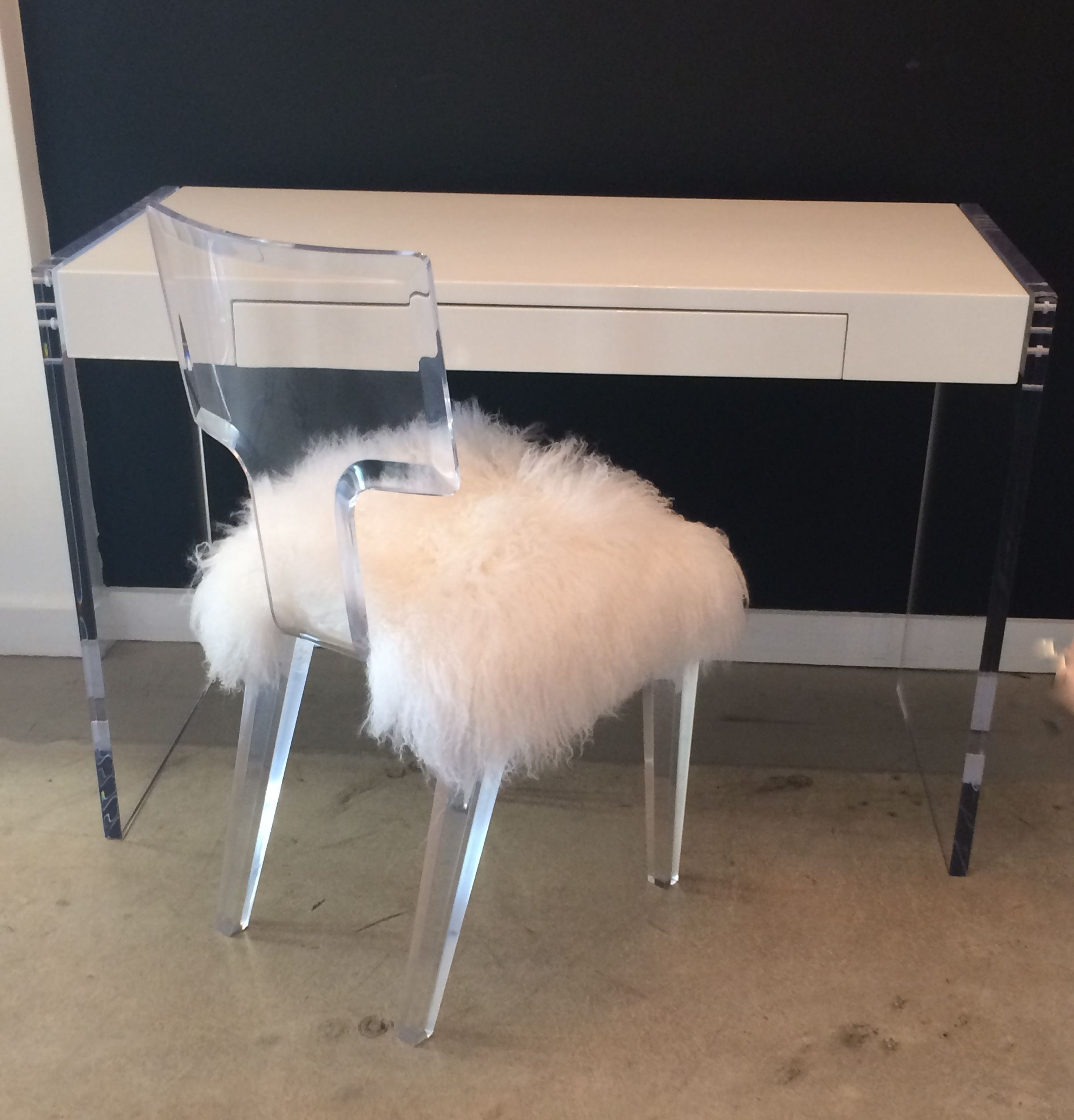 Bowie Desk hanging with the Lola Chair, both by Nisi B