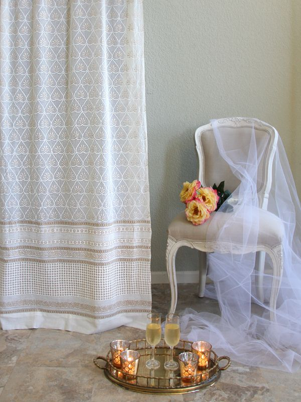 White And Gold Elegant Romantic Curtain Panel These