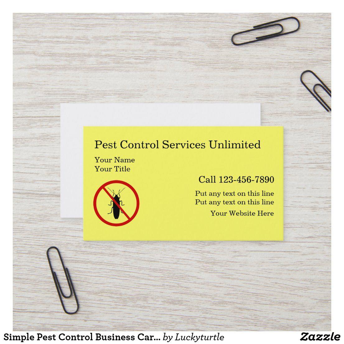 Simple Pest Control Business Cards Zazzle Com Pest Control Personal Business Cards Pests