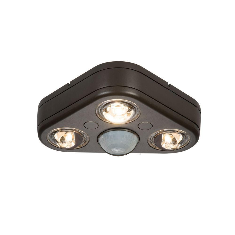 Revolve 270 Degree Bronze Outdoor Motion Activated Led Triple Head Security Flood Light 5000k