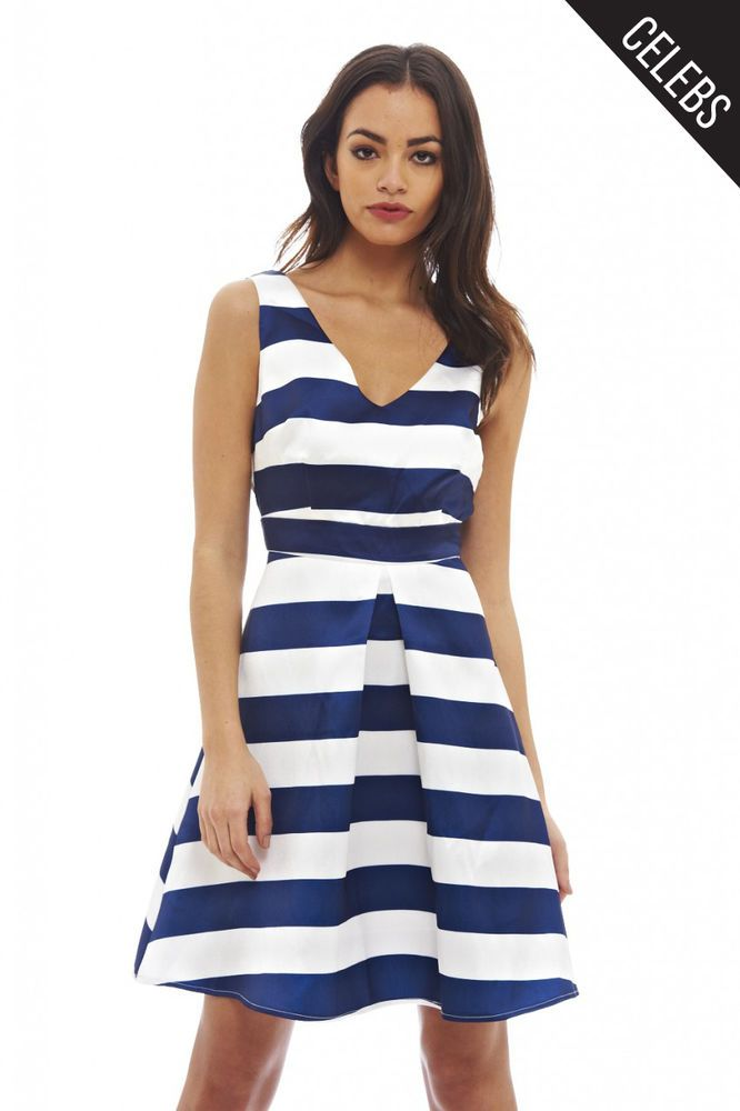 AX Paris Womens Navy Striped V Neck Skater Dress Glamorous Stylish Fashion f6e225ad7d
