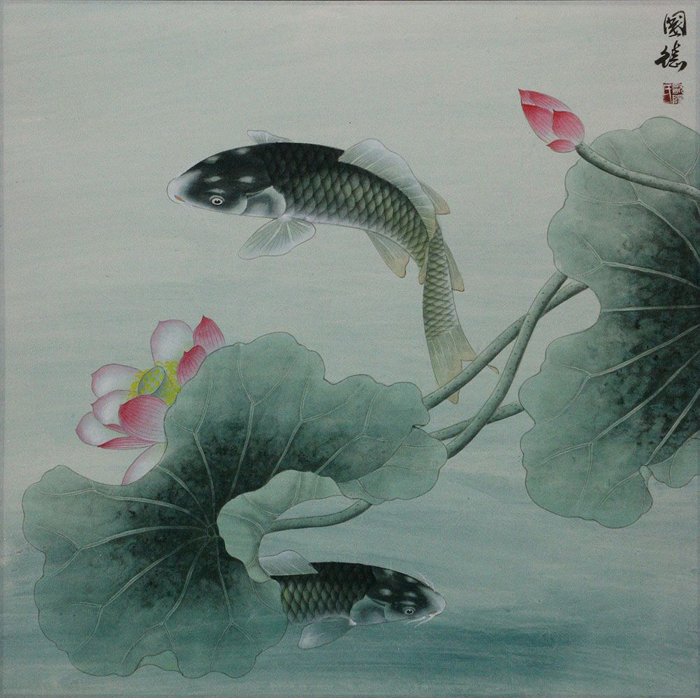 Image result for swishy fishy inspiration for art pinterest koi fish and lotus flower subdued chinese painting asian koi fish paintings wall scrolls chinese art izmirmasajfo
