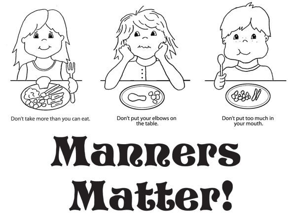 Good Table Manners Coloring Pages