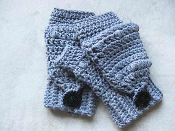 Puff Stitch Fingerless Gloves Crochet Pattern With Flap Kickin