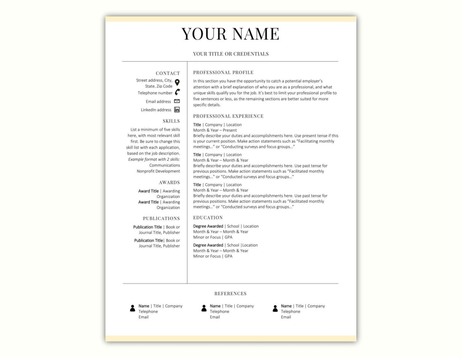 Resume Word Template Cool Minimal Resume Template Cv Template Word Resume Template Cv Inspiration