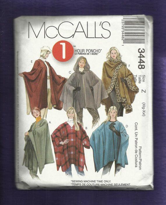 McCalls 3448 Ponchos & Wraps Six to Choose from Sizes XL- XXL ...