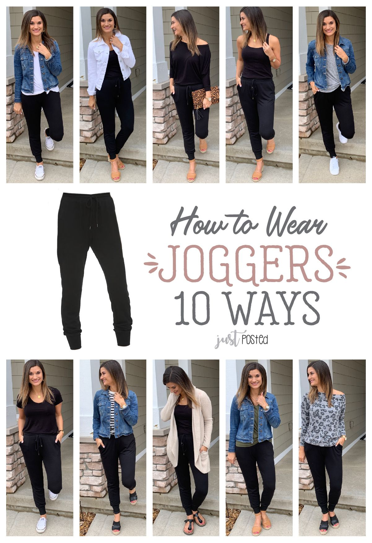 How to wear and style joggers 10 different ways! #howtowear
