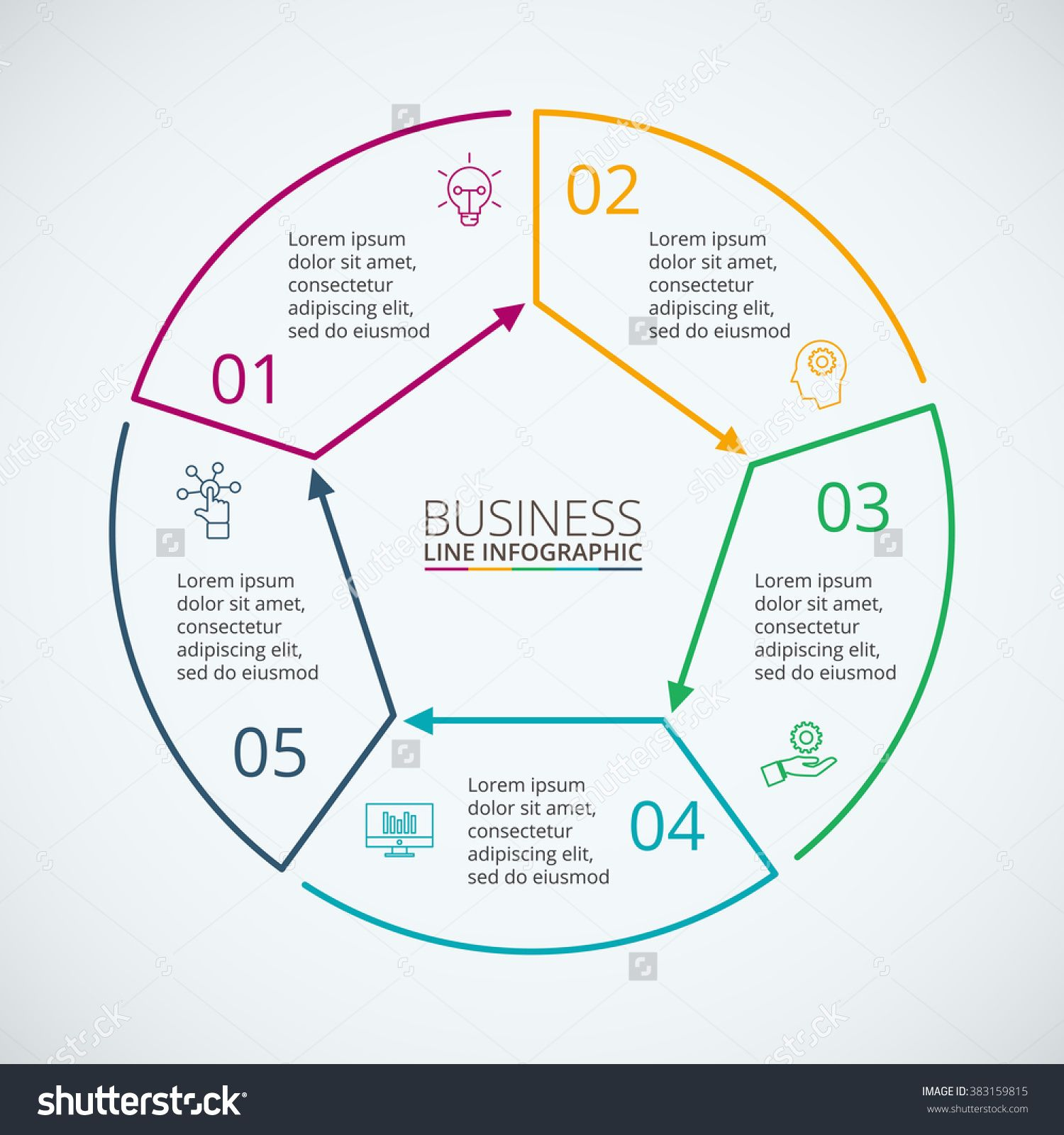 thin line flat circle for infographic template for diagram graph