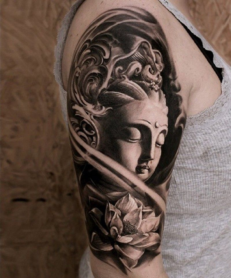 3d Black And White Buddha Statue Tattoo On Shoulder Combined With