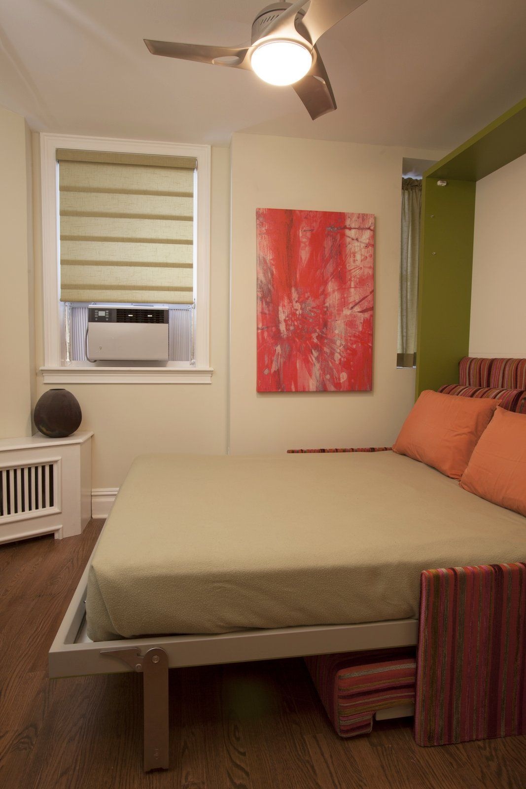 murphy bed in tiny spare room  interior design