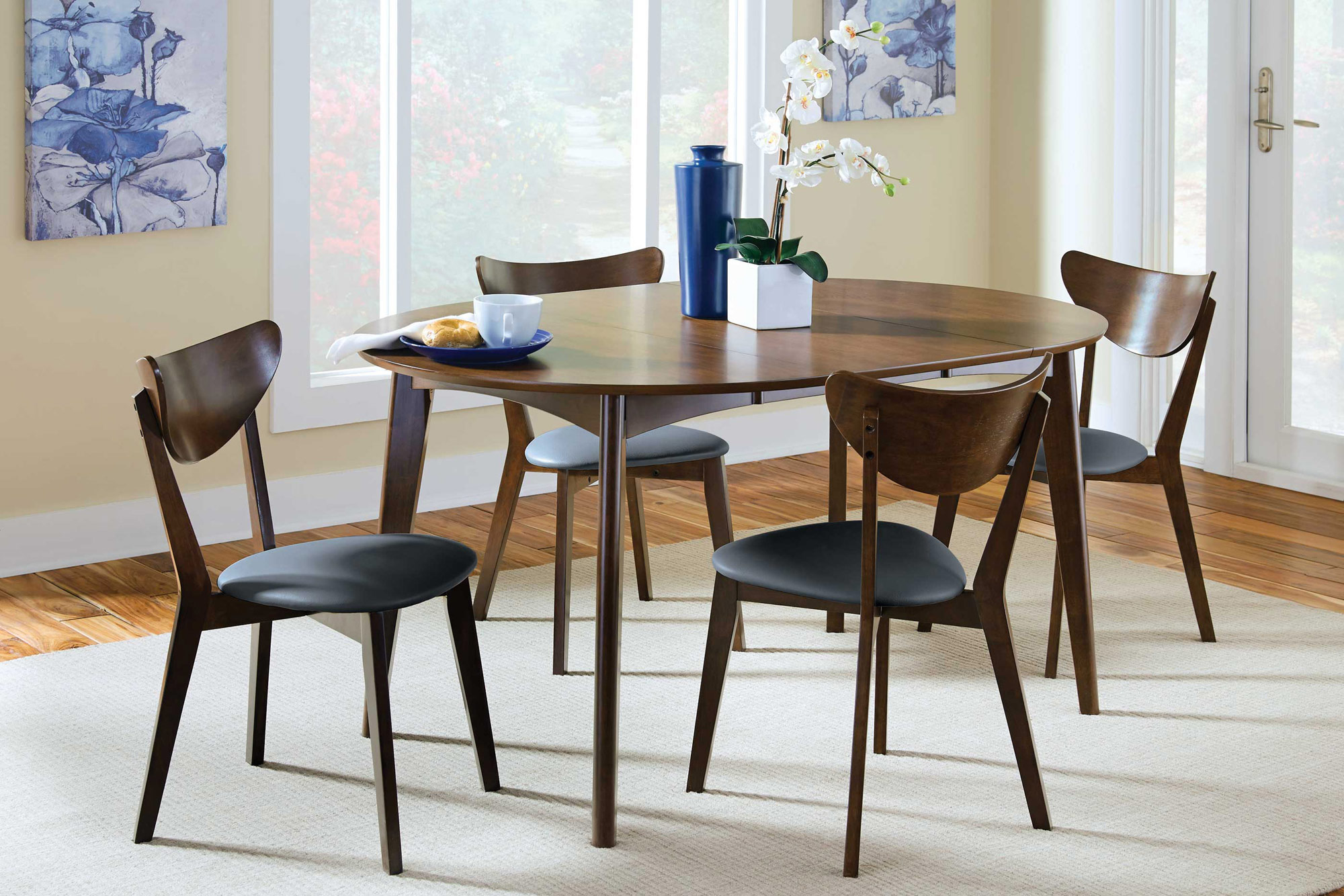 Malone Round Extendable Dining Table Walnut Dining Table Dining Table Solid Wood Dining Set