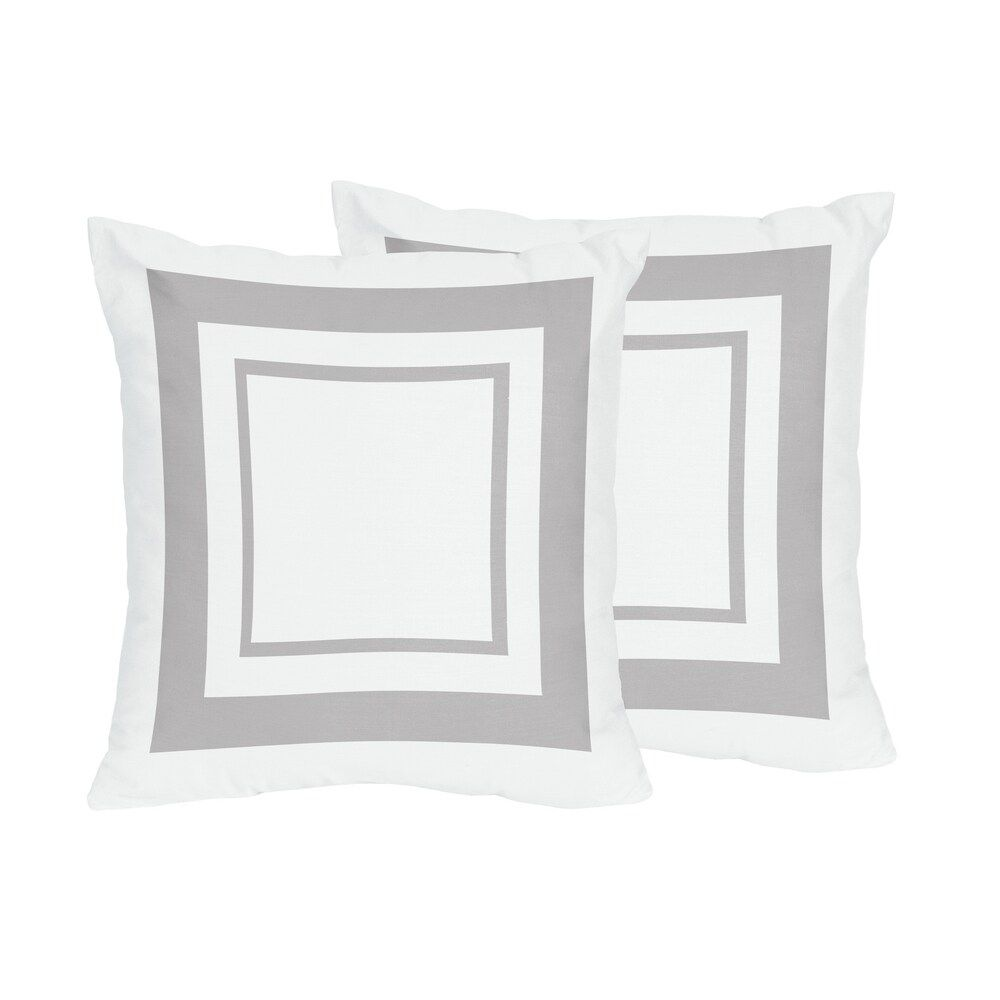 Sweet Jojo Designs White And Grey Hotel Decorative Accent Throw Pillow Set Of 2 White And Gray Multicolor Cotton Geometric In 2020 Throw Pillows Pillows Throw Pillow Sets