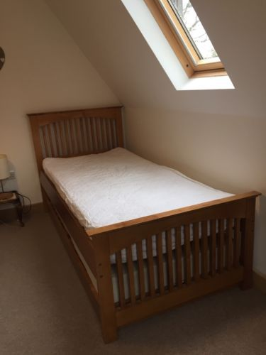Solid Wood Guest/Spare Bed With Trundle With 2 Mattresses