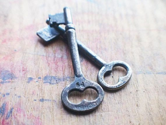 Antique Key Duo Corbin P2 P-Series Vintage Skeleton Keys | Skeleton