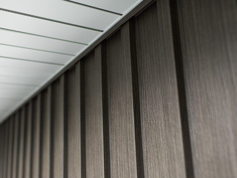 Board Batten In Timber Ash With Truvent Hidden Vent Soffit Steel Siding House Cladding Steel Cladding