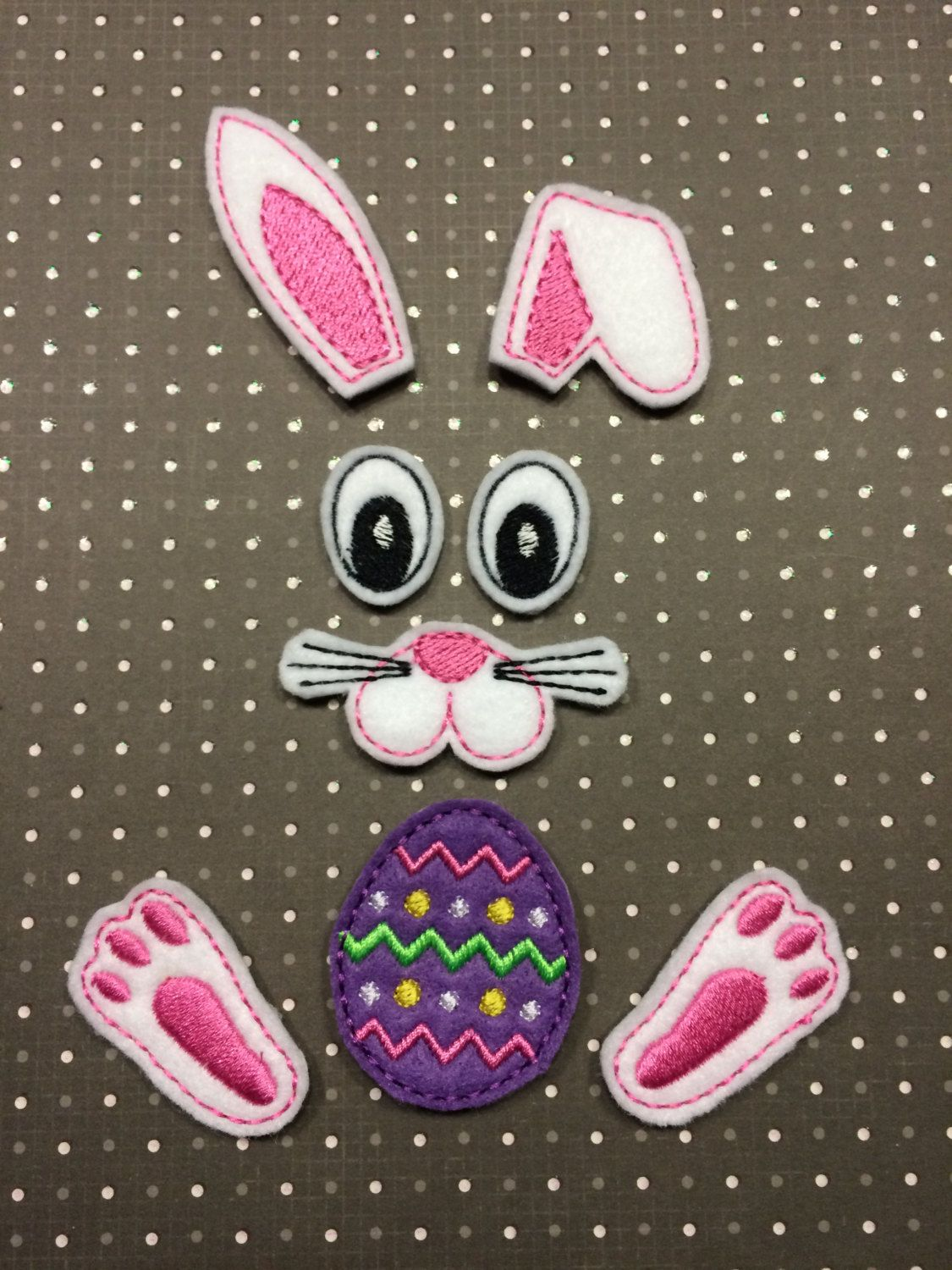 Oversize Bunny Hair Bow Parts Face Rabbit Feet Holding Egg Happy Easter Peter Cottontail Feltie Appliques Embroidered Felt Stitches By TheFarmChix