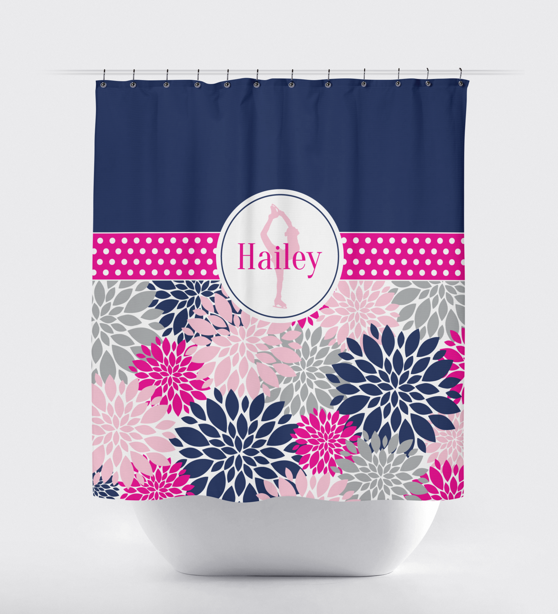 Navy Coral Anchor Shower Curtain | Anchor shower curtains, Coral ...