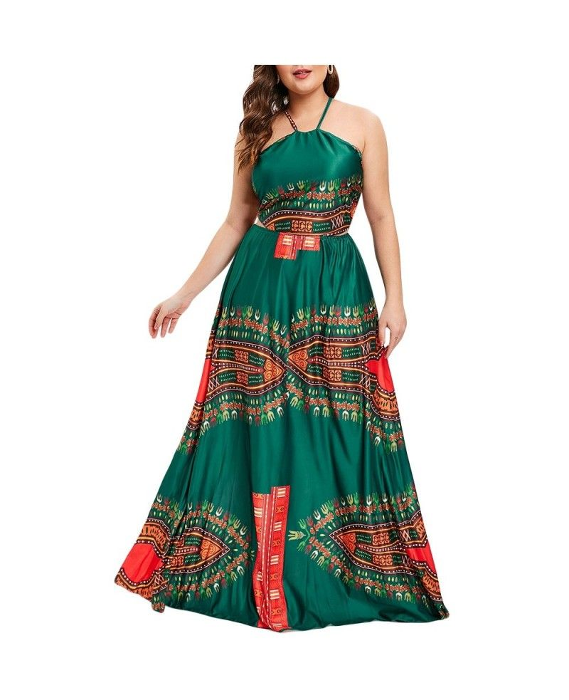 Backless plus size printed maxi dress deep green