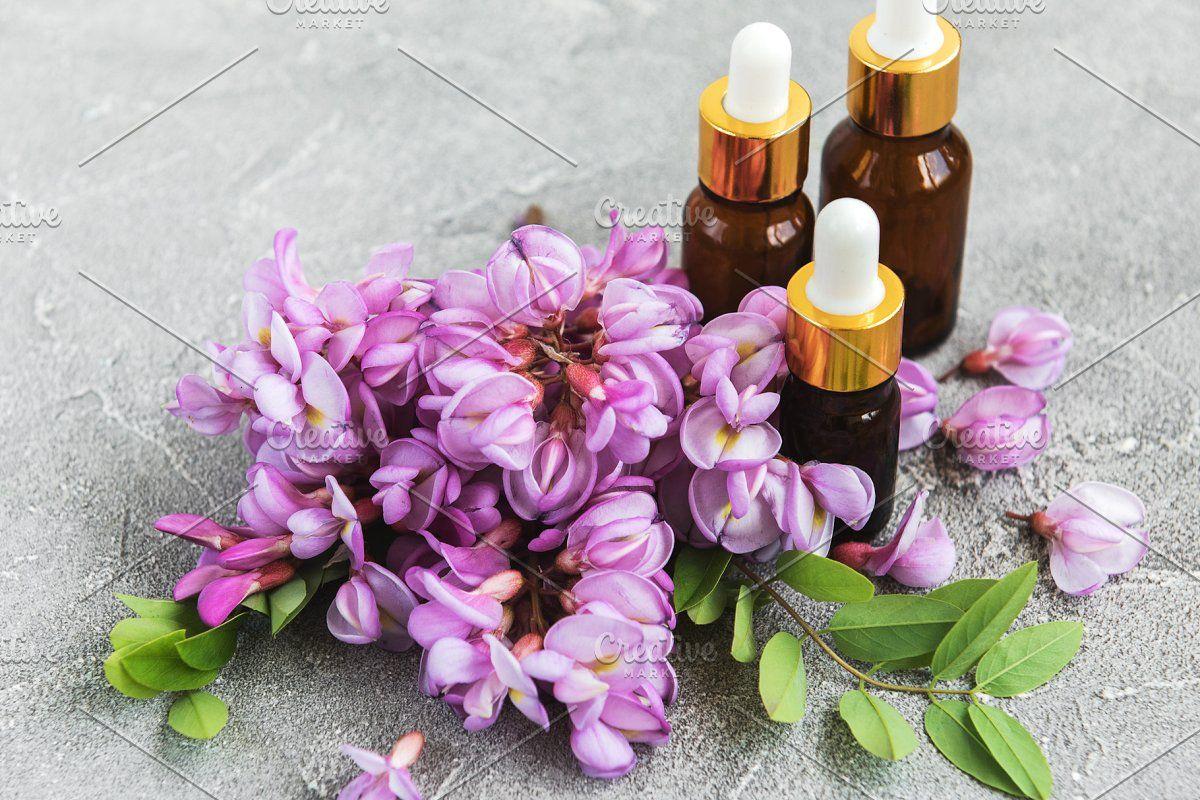 Essential Oils And Pink Acacia Flowe In 2020 Essential Oils Oils Acacia