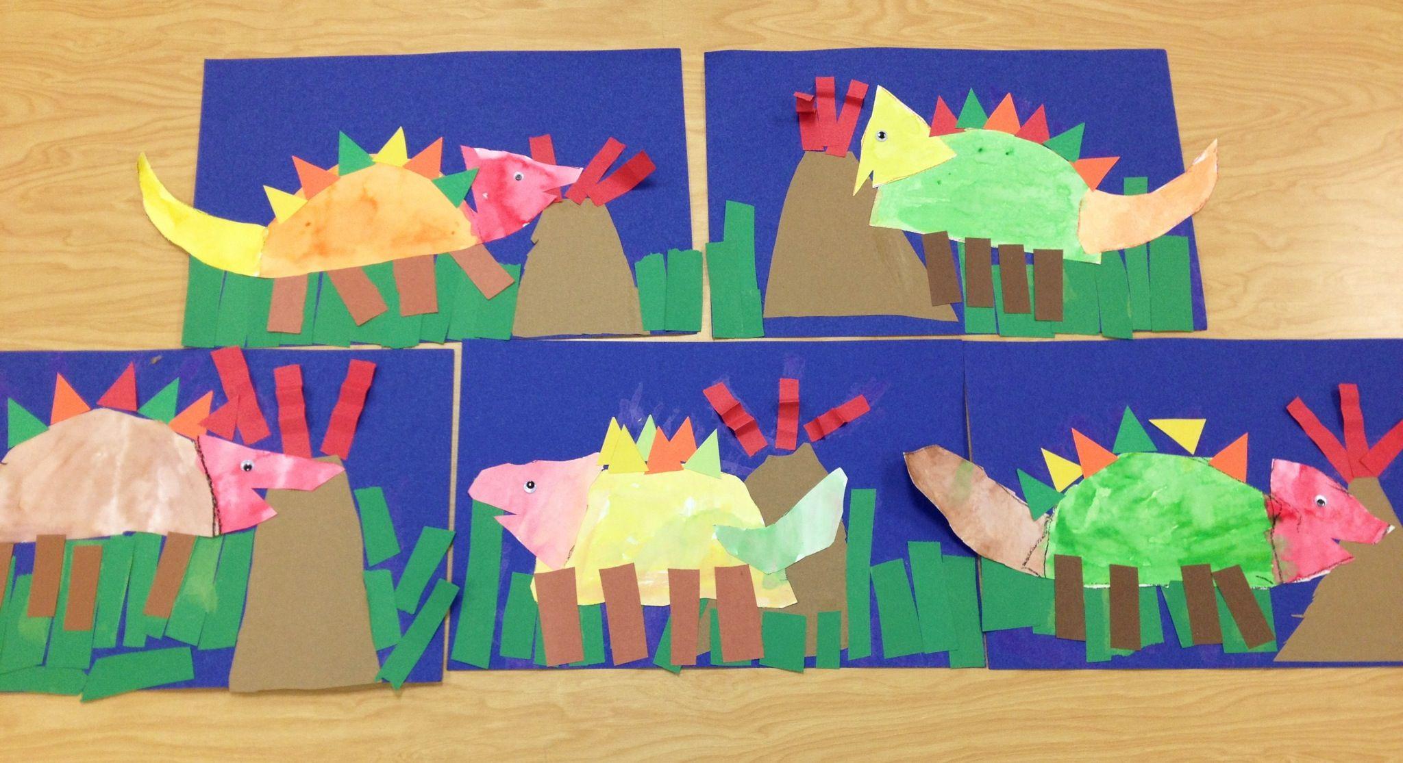 Building Dinosaurs With Shapes Kindergarten Art Art
