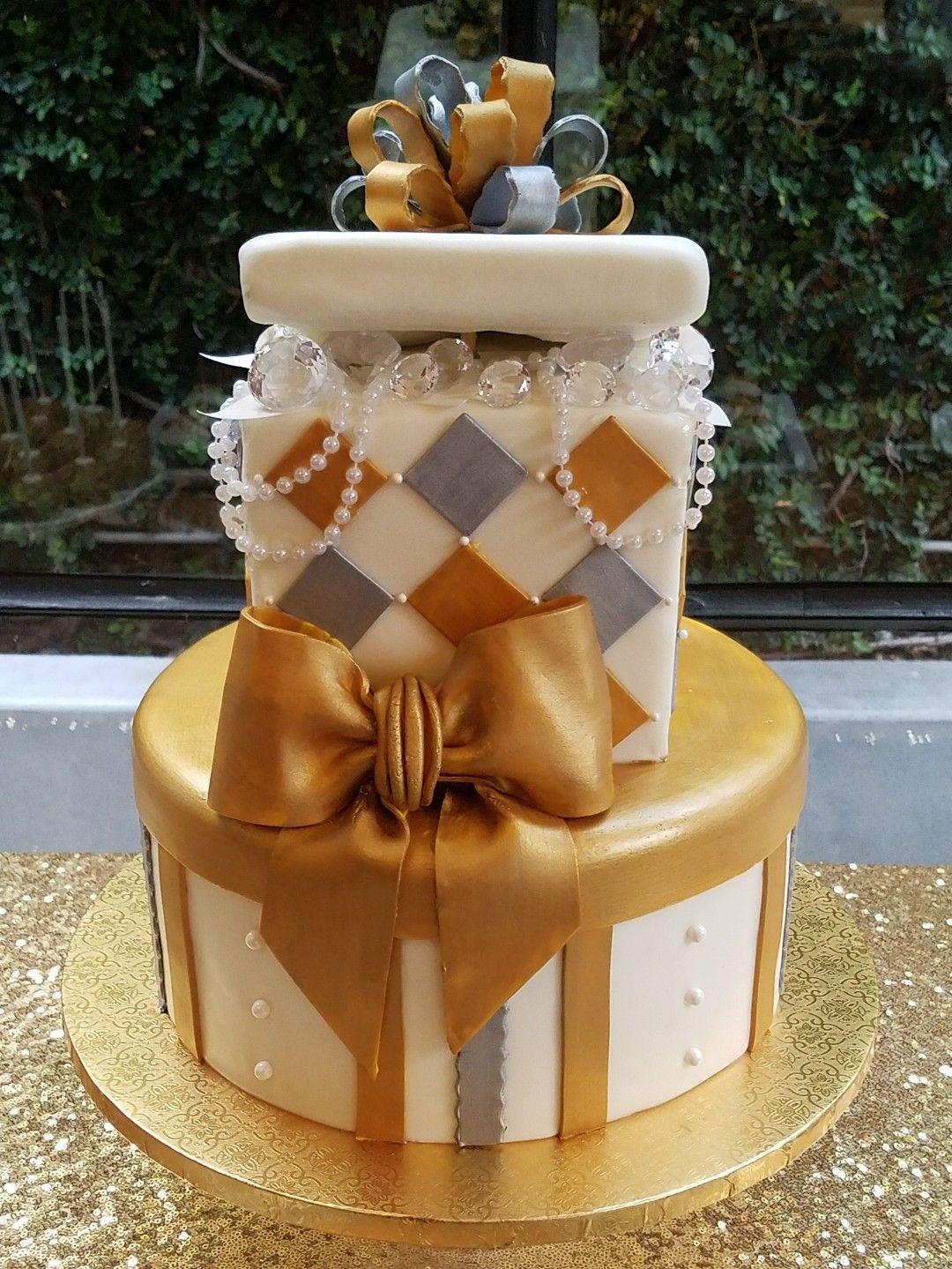 Gift Boxshaped Cake 50 Years and Blessed Theme Birthday