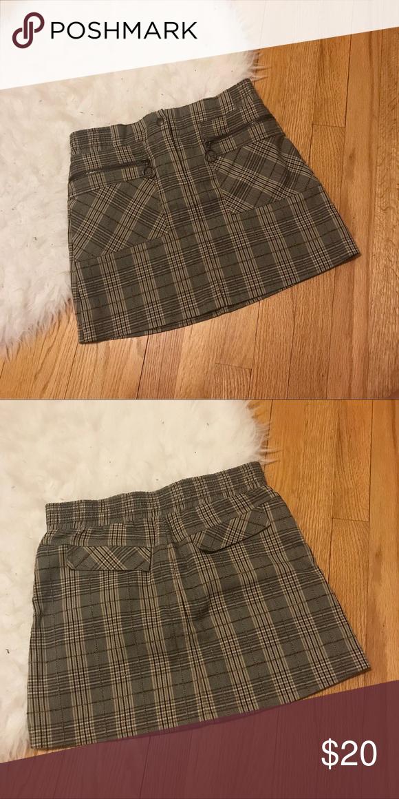 Vintage Brown and Beige Plaid Mini Skirt