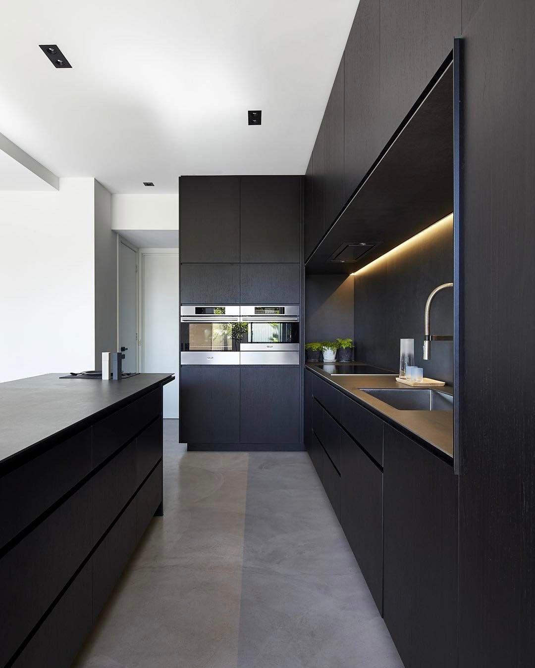 Minimal Black Kitchen  Design & Interior  Pinterest  Black Glamorous Modern Kitchen Interior Design Review