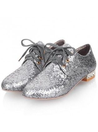 Metallic Design Round Toe Grey Lace Up Flats