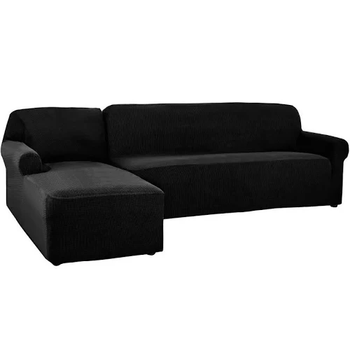 2 Pieces L Shaped Sectional Couch Covers Left Chaise Black Plaid Google E Sectional Sofa Slipcovers Fabric Sectional Sofas Sectional Couch Cover