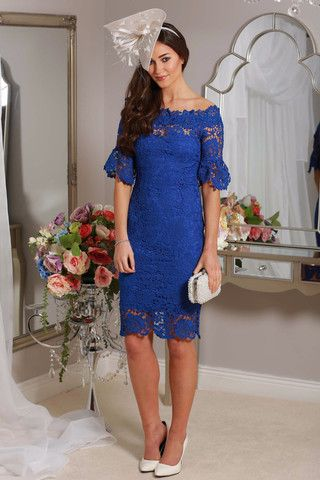 midi royal blue lace dress occasion wear wedding guest races