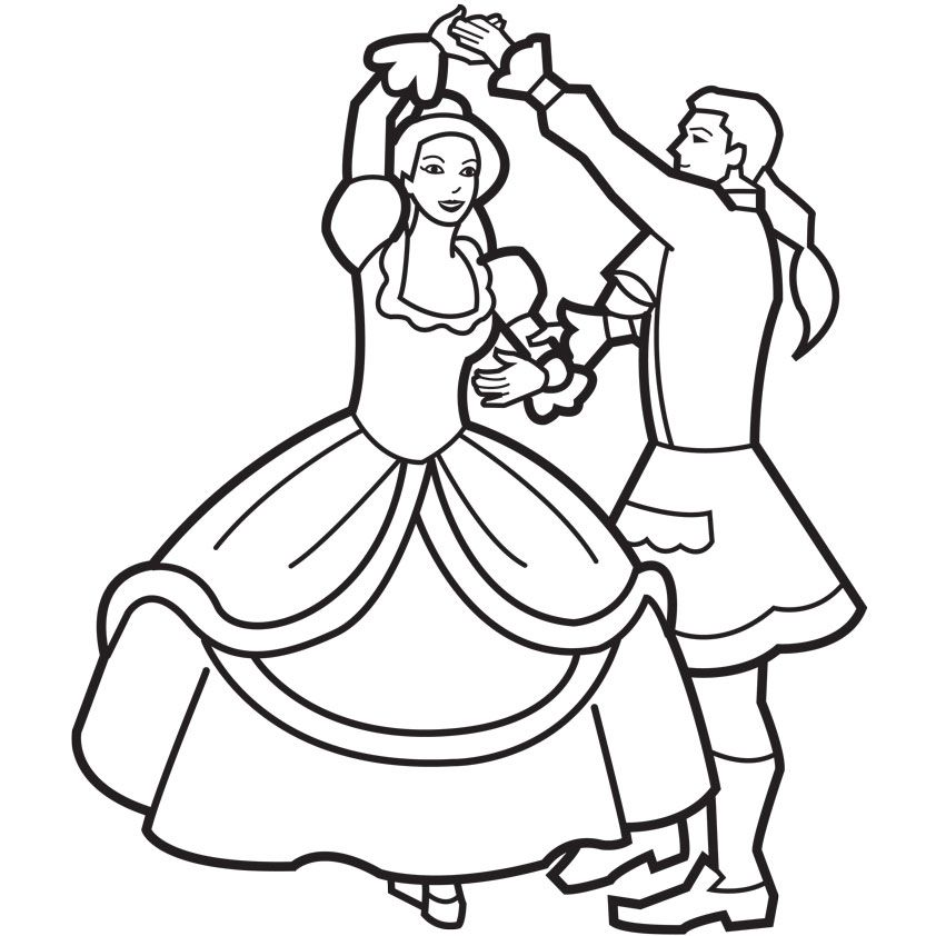 princess and prince dancing coloring page